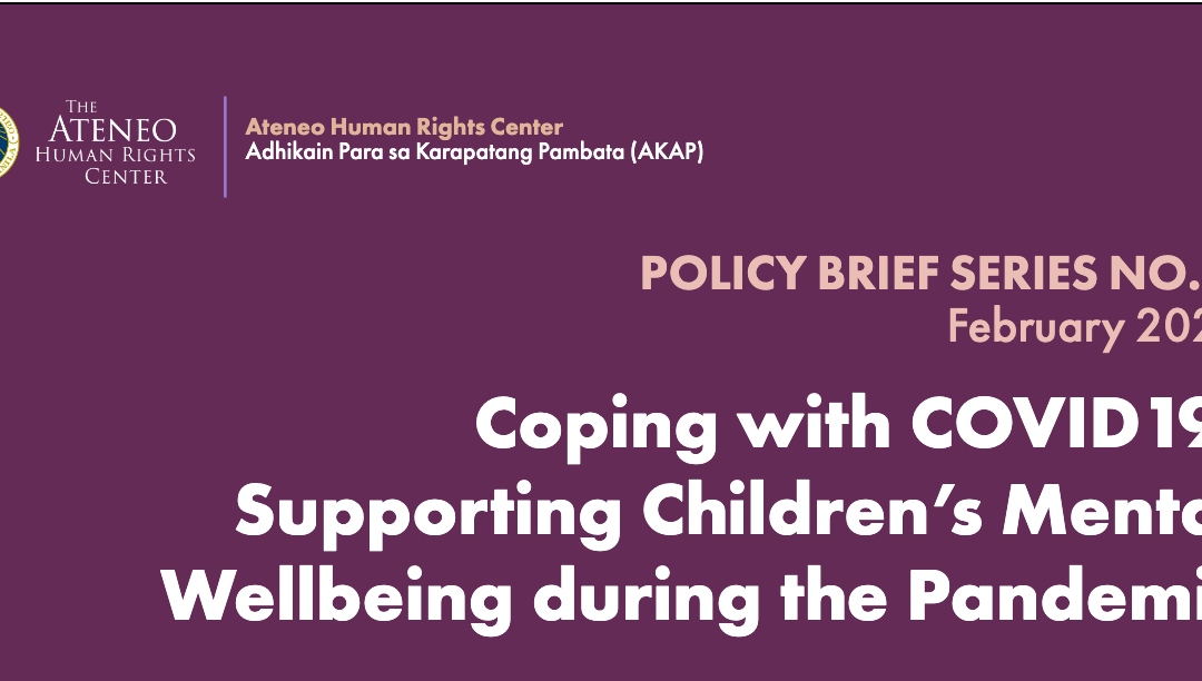 Coping with COVID-19: Supporting Children's Mental Wellbeing during the Pandemic